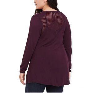 Torrid - Burgundy Pointelle Knit Cardigan